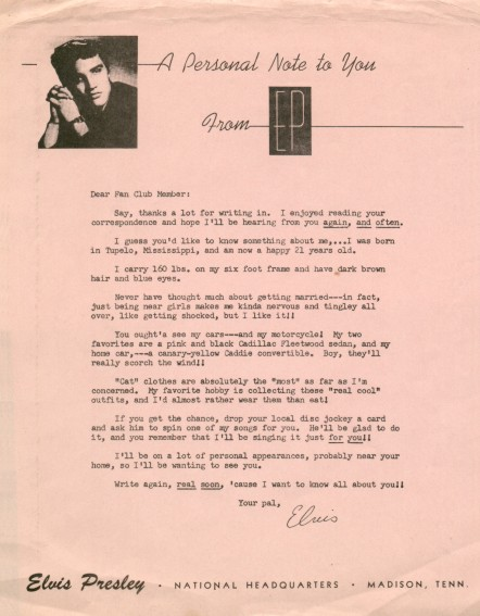 1956 fan club letter - A Personal Note To You From EP